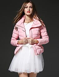 frmz женщин твердый / печать розовый вниз coatsimple водолазка с длинным рукавом