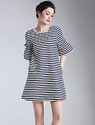 Eosciy® Damen Rundhalsausschnitt Kurze Ärmel Über dem Knie Kleid-52007
