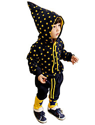 Boy's Cotton Fashion Spring/Fall Going out Casual/Daily Star Print Hoodies Coat & Pants Cartoon Two-piece Set Sport Suit