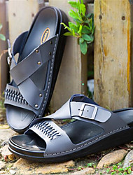 Men's Slippers & Flip-Flops Summer Leather Casual Flat Heel Others Black White Gray Others