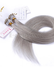 10A Grade Gray Micro Loop Ring Beads Hair extensions Silky Straight 100grams Brazilian Virgin Human Hair Braids