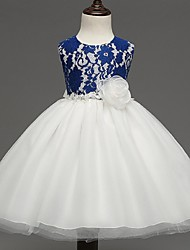 Ball Gown Knee-length Flower Girl Dress - Organza Sleeveless Jewel with Flower(s)