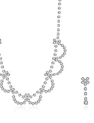 2016 Noble Luxury Flower Wedding Bridal Silver Zircon Necklace Earrings Party Jewelry Set
