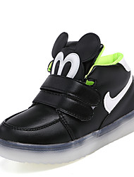 Girl's Athletic Shoes Spring / Fall Comfort PU Casual Flat Heel Magic Tape Black / Green / Pink Sneaker