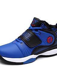 Masculino-Tênis-Conforto-Rasteiro-Preto Vermelho Azul Real-Couro-Ar-Livre