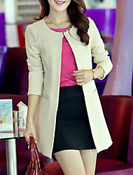 Women's Round Collar Slim Long Coat