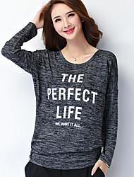 Damen Buchstabe Einfach Übergröße T-shirt,Rundhalsausschnitt Herbst Langarm Schwarz Baumwolle / Polyester Mittel