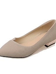 Women's Solid Imitated Suede Low-heels Pointed Closed Toe Pull-on Pumps-Shoes