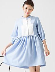 Feminino Solto Vestido,Casual Fofo Color Block Colarinho Chinês Acima do Joelho Manga ¾ Azul / Amarelo Poliéster / Elastano Primavera