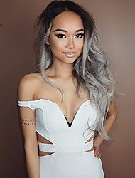 Glueless Synthetic Lace Front Wig Ombre Gray Black Color Wig Long Curly Wig Top Quality