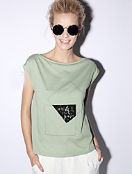 NEW BEFORE  Women's Casual/Daily Simple Summer T-shirtSolid Boat Neck Short Sleeve White / Green