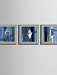 Abstract Framed Canvas / Framed Set Wall Art,PVC Grey No Mat With Frame Wall Art