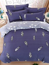 Bedtoppings Comforter Duvet Quilt Cover 4pcs Set Queen Size Flat Sheet Pillowcase Feather Prints Microfiber