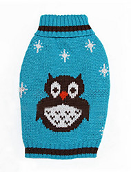 Dog Sweater Orange / Green / Blue Dog Clothes Winter / Spring/Fall Cartoon Keep Warm