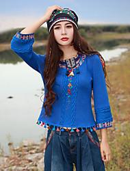 Mulheres Camiseta Happy-Hour Chinoiserie Primavera / Outono,Bordado Azul Acrílico / Elastano Decote Redondo Manga Longa Média
