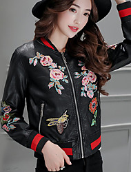 Women's Sophisticated Fall / Winter Leather JacketsFloral Round Neck Long Sleeve Black PU