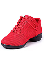 Non Customizable Women's Dance Shoes Leather Leather Modern Sneakers Low Heel Practice Black / Red