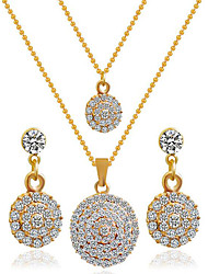 May Polly Europe and the United States double round diamond necklace earrings set