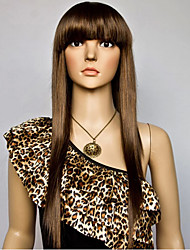 Brown Blonde Mixed Color Long Straight Wigs Capless Synthetic Wigs For Women
