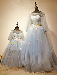 Formal Evening Dress A-line Jewel Floor-length Tulle / Charmeuse with Beading / Draping / Flower(s) / Sequins