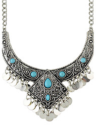 Silver Plated Created Turquoise Statement Collar Necklaces