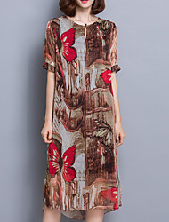 Women's Casual/Daily Chinoiserie A Line Dress,Print Round Neck Knee-length ½ Length Sleeve Brown Rayon Summer