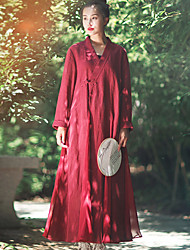 Ramie Cotton Women's Going out Chinoiserie Loose DressSolid V Neck Maxi Long Sleeve Red Linen