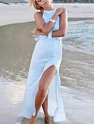 Women's Beach Sexy Swing DressSolid Turtleneck Asymmetrical Sleeveless Blue Linen Summer High Rise Inelastic Thin