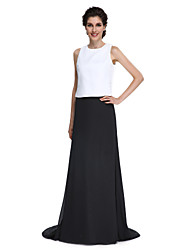 Lanting Bride®Sheath / Column Mother of the Bride Dress - Elegant / Color Block Sweep / Brush Train Sleeveless Chiffon with