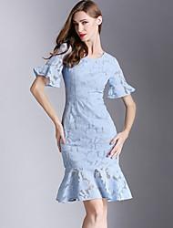 Eosciy® Damen Rundhalsausschnitt Kurze Ärmel Über dem Knie Kleid-61809