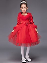 Ball Gown Knee-length Flower Girl Dress - Satin Tulle Jewel with Flower(s) Sequins