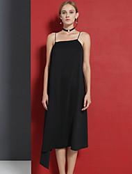 c + impressionner femmes sortant sophistiquée lâche sangle dresssolid midi sans manches polyester blanc / noir mi-été