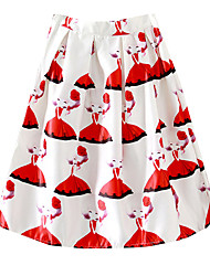 Casual/Daily/Going out Women's Skirt Fashion Printing A Line Skirt