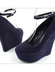 Damen-High Heels-Lässig-PU-KeilabsatzSchwarz / Lila