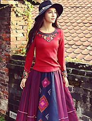 наша история выходит Chinoiserie весна / осень T-shirtembroidered вокруг шеи длинный рукав красный полиэфирной среды