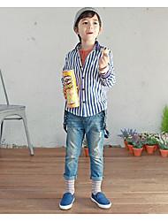Tee-shirts Boy Rayé Décontracté / Quotidien Coton / Polyester Eté / Printemps Bleu