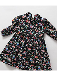 Girl's Going out Floral DressCotton Spring / Fall Black