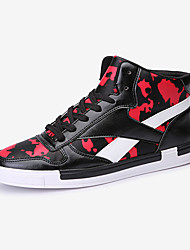 Men's Sneakers Fall Winter Suede Athletic Flat Heel Lace-up White Black and Red Black and White