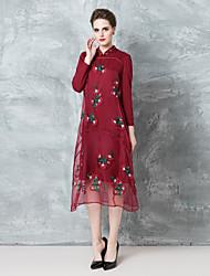 Damen Tunika Kleid-Ausgehen Chinoiserie Stickerei Rundhalsausschnitt Übers Knie Langarm Rot / Schwarz Polyester Herbst Mittlere Hüfthöhe