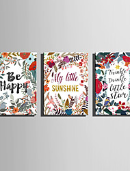 E-HOME® Stretched Canvas Art Flowers And Letters Decoration Painting  Set Of 3