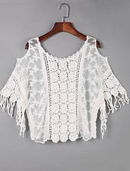 Tee-shirt Aux femmes,Couleur Pleine Sortie Bohème Automne Manches Courtes Epaules Dénudées Blanc Coton Fin
