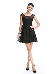 2017 ts Couture® cocktail robe une ligne de scoop court / mini chiffon / dentelle avec dentelle / cross criss