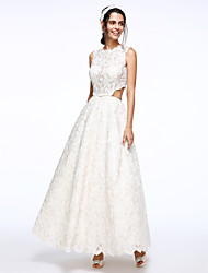 A-line Wedding Dress Ankle-length Jewel Lace with Button