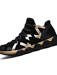 Men's Sneakers Spring / Fall Comfort / Round Toe PU Casual Flat Heel Lace-up Black / Black and Gold