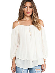Women's Off The Shoulder Casual/Daily Simple Fall BlouseSolid Strap Long Sleeve White Cotton Opaque