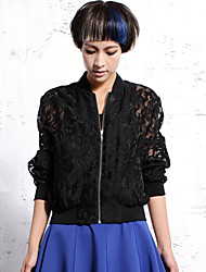 Newbefore Women's Going out Sophisticated Spring JacketsSolid / Embroidered Stand Long Sleeve
