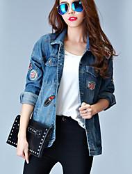 Giacche di jeans Da donna Casual Semplice Autunno,Con stampe Colletto Poliestere Blu Manica lunga Opaco