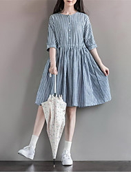 Women's Casual/Daily Simple / Cute Loose DressStriped Round