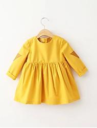 Menina de Blusa,Casual Cor Única Algodão Todas as Estações Amarelo