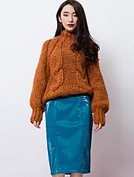 room404 Frauen solide blau / braun skirtsvintage knielang